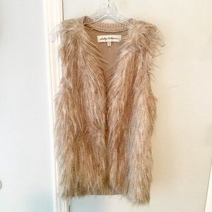 Sebby Collection Tan Faux Fur Vest Size S